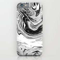 Masuki - black and white minimal spilled ink marbled paper marble texture marbling marble painting iPhone 6 Slim Case
