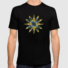 Optical Illusion - floral pattern with parallel lines Black SMALL Mens Fitted Tee