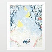 Winter Cycling Art Print