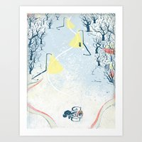 Winter Cycling Art Print