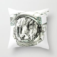The Cow astronaut Throw Pillow