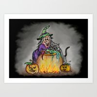 Witch And Cat, Happy Hal… Art Print
