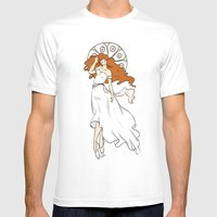 Muchaesque Ballet Girl Mens Fitted Tee White SMALL