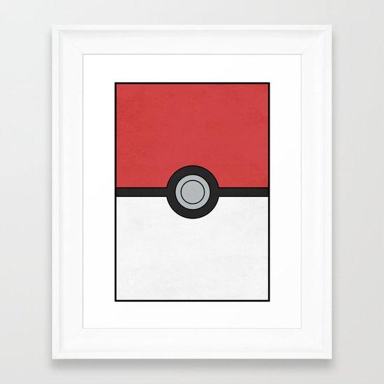 Minimal Pokéball Poster - Pokemon Classic Framed Art Print
