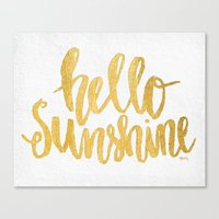 Hello Sunshine Gold And … Canvas Print