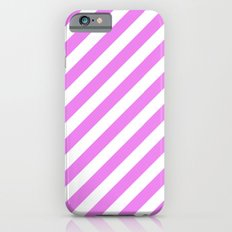 Diagonal Stripes (Violet/White) iPhone 6 Slim Case