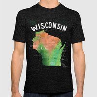 Wisconsin Map Mens Fitted Tee Tri-Black SMALL