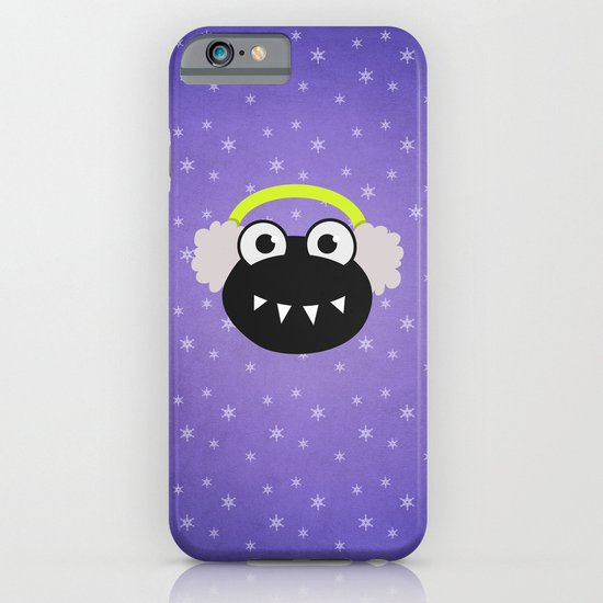 Purple Cute Cartoon Bug With Earflaps In Winter iPhone & iPod Case