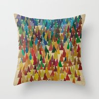 Colorful Conifers Throw Pillow