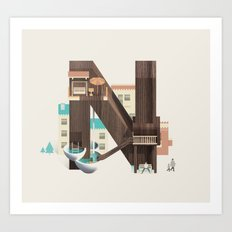 Resort Type - Letter N Art Print