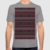 Navajo blanket pattern- red Mens Fitted Tee Athletic Grey SMALL