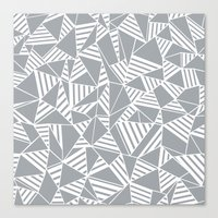 Abstract Lines B Grey Canvas Print