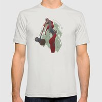 PONDERING Mens Fitted Tee Silver SMALL