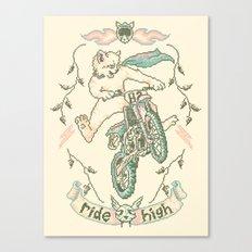 Motocross-Stitch Kitteh Canvas Print