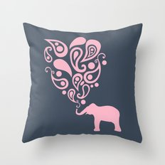 Pink Grey Paisley Elephant Pattern Design Throw Pillow