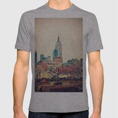 NYC Vintage Style Mens Fitted Tee Athletic Grey SMALL