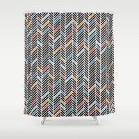 Herringbone Blue And Bla… Shower Curtain