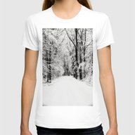 Snowy Woods Womens Fitted Tee White SMALL