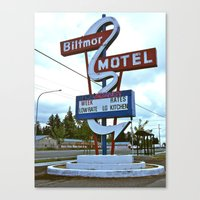 Canvas Print featuring Biltmor Motel sign by Vorona Photography