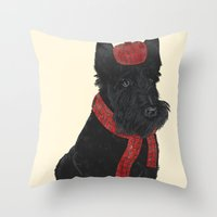 Throw Pillows featuring Scottie by Fathi