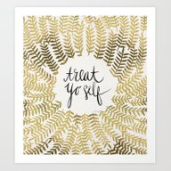 Art Print featuring Treat Yo Self – Gold by Cat Coquillette