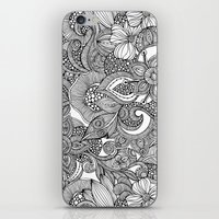 Flowers and doodles iPhone & iPod Skin