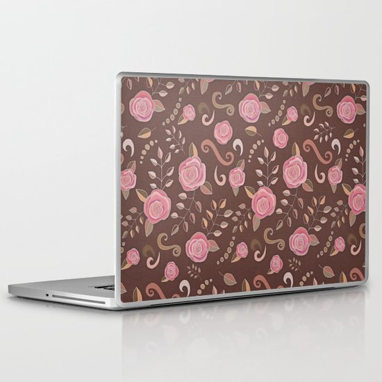 Coffee Roses - vintage rose pattern in pink and brown Laptop & iPad Skin