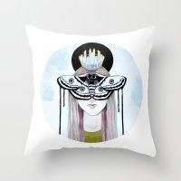 Moth Queen Throw Pillow