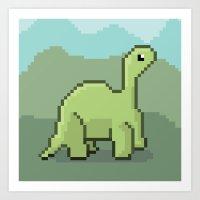 Another Pixel Dino! Art Print