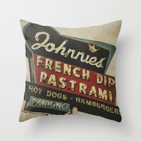 Johnnie's French Dip Pastrami Vintage/Retro Neon Sign Throw Pillow