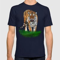 Tiger On Green Mens Fitted Tee Navy SMALL