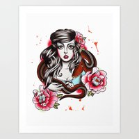 The Girl The Snake And T… Art Print
