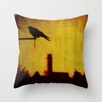 Crow And Castle With Mus… Throw Pillow