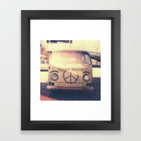Happy VW Van Polaroid Framed Art Print