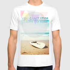 you can't stop the waves, but you can learn to surf Mens Fitted Tee White SMALL