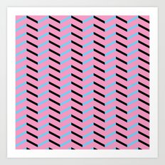 Blue and Black Chevron on Hot Pink Art Print