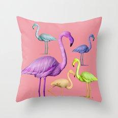 flamingo party-pink Throw Pillow