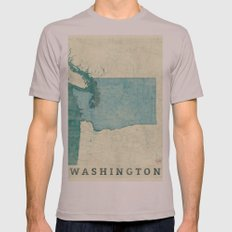 Washington State Map Blue Vintage Mens Fitted Tee Cinder SMALL