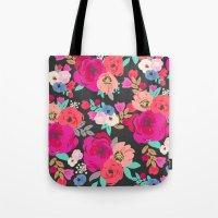 Sweet Pea Floral Black B… Tote Bag