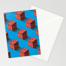 3D pixel city Stationery Cards