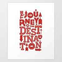 Red Zen Journey Quote Art Print