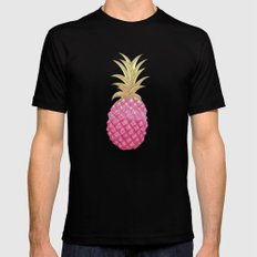 Ombre Pink Pineapple Mens Fitted Tee Black SMALL