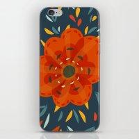Decorative Whimsical Orange Flower iPhone & iPod Skin