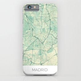 iPhone & iPod Case - Madrid Map Blue Vintage - City Art Posters