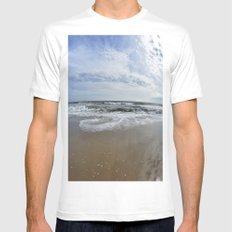 Waves Break White SMALL Mens Fitted Tee