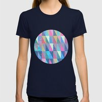 Candy Triangles Womens Fitted Tee Navy SMALL