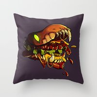 Burgermonster Throw Pillow
