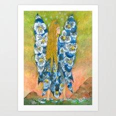 Fairy of The Blue Pansies Art Print