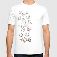 Erithacus rubecula Mens Fitted Tee White SMALL