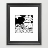 Crashing Ship Framed Art Print